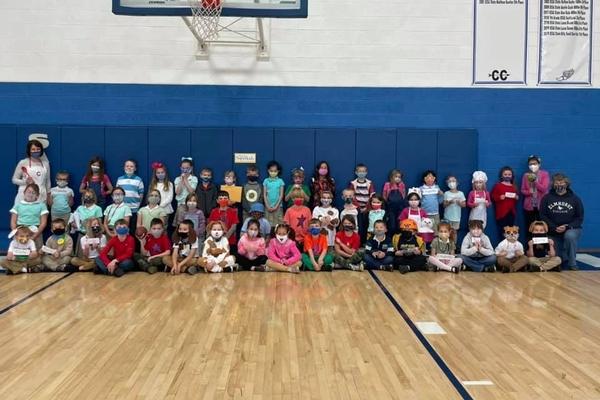 Our K-2nd grade SUPERKIDS celebrating our SUPER KIDS reading program